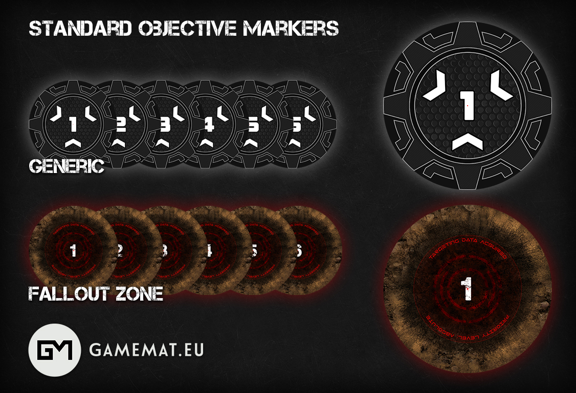 graphic relating to 2d Printable Terrain identified as Contemporary Launch: Goal MARKERS - Gamemat.ecu